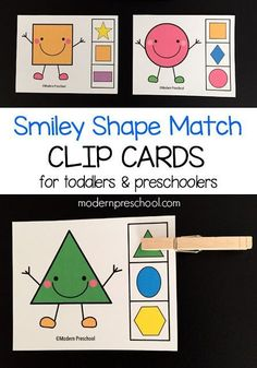 FREE. Printable shape match clip cards for early learners! A low prep shape game for kids. The set of shape clip cards includes 11 super cute smiling shapes. Each clip card includes 3 shape choices to choose from. Your student needs to match the smiley friend with the correct choice on the side. Download this freebie at: http://www.modernpreschool.com/2015/07/shape-match-clip-cards.html