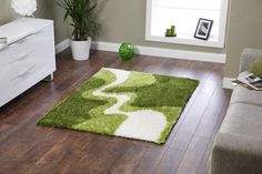 living room rug with green and white design
