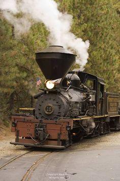 Yosemite Mountain Sugar Pine Railroad I love this picture, the tree foliage, the smoke steam