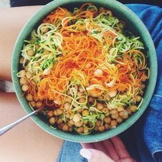 Carrot and zucchini spiralled using a spiralizer, mixed with chickpeas, seasoned with pink salt and black pepper! - essena oneill