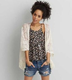 Shop Shirts and Blouses for Women. From button ups to denim shirts, flannels and plaid shirts, refresh your style with our collection of Women's Shirts and Blouses. Lace Kimono, Womens Clearance, Mens Outfitters, Spring Outfits, American Eagle Outfitters, Aeo, Clothes For Women, My Style, Ivory
