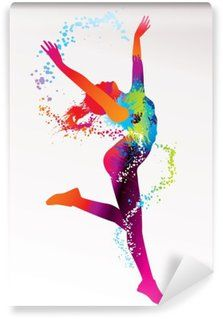 The dancing girl with colorful spots and splashes on a light bac Washable Wall Mural Class Decoration, Stage Decorations, Birthday Decorations, Zumba, Black Girl Art, Wallpaper For Your Phone, Alternative Therapies, Learn To Dance, Girl Dancing