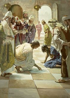 Jesus and the Woman Caught in Adultery, Harry Anderson Images Bible, Bible Pictures, Religious Pictures, Religious Art, Jesus Forgives, Harry Anderson, Christian Artwork, Life Of Christ, Jesus Art
