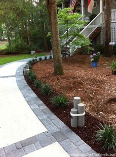 Concrete Walkway Transformed With Beautiful Cobble-Stone Pavers put lights inside the wood things Mixed mulch idea Concrete Patios, Concrete Pathway, Paver Walkway, Brick Pavers, Walkways, Walkway Ideas, Walkway Designs, Cobblestone Pavers, Driveway Ideas