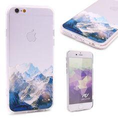 Urcover® Semi Softcase Hülle | Apple iPhone 6 / 6s | TPU Muster Berge | Kamera-Schutz | Handyhülle | Cover Backcase Handyschutz 7,90€