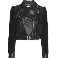 Alexander McQueen Leather and Shearling Jacket ($3,875) ❤ liked on Polyvore featuring outerwear, jackets, coats & jackets, black, alexander mcqueen jacket, alexander mcqueen, genuine leather jackets, shearling jacket and leather jackets