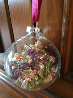 Dried Candy Tuft and Baby's Breath Ornament by TheFancyMoose