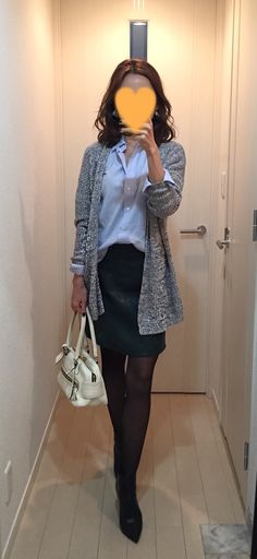 Grey cardigan: Theory, Blue shirt: Kamakura shirt, Green faux leather skirt: ZARA, White bag: J&M DAVIDSON, Short boots: Jimmy choo
