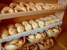 bakery shelves with breads