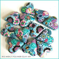 Polymer clay pillow heart beads ~Mermaid Flower~ | by Iris Mishly