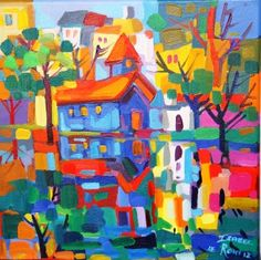 Blue Church Oil Painting 400x400 R4500 Bright Colors Art, African Colors, South African Artists, Tropical Art, Painting Gallery, Naive Art, Art Themes, Artist Painting, Art Images