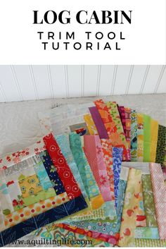 Hello! Today I'm sharing a tutorial for my favorite way to make Log Cabin quilt blocks. Log cabin blocks are one of my favorite scrap-using blocks, and this method makes it especially easy!  When I fi