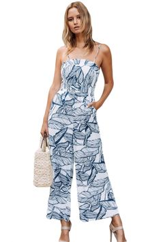 2c012f3d7f3 Navy Leaf Vein Print White Wide Leg Jumpsuit •Wholesale jumpsuits and  rompers for women with