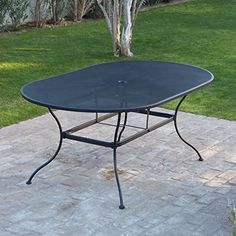 Belham Living Stanton 42 x 72 in. Oval Wrought Iron Patio Dining Table by Woodard - Textured Black *** Wonderful to have you for viewing our photo. (This is an affiliate link) Patio Dining Chairs, Outdoor Dining, Dining Tables, Patio Tables, Outdoor Tables, Dining Sets, Outdoor Rooms, Iron Patio Furniture, Outdoor Furniture
