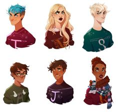 Teddy, Victoire, Scorpius, Albus, James, and Rose in their Weasley sweaters.