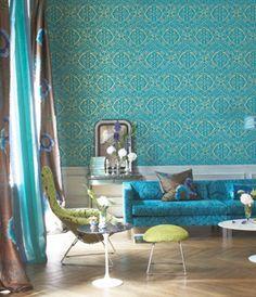 Designers Guild Aqua & Chartreuse
