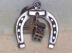 VINTAGE Sterling Silver LAS VEGAS HORSESHOE w MOVABLE DICE Charm Tagged #Unbranded