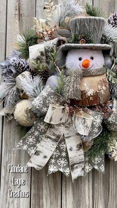 Farmhouse Christmas Decor, Rustic Christmas, Christmas Crafts, Victorian Christmas, Christmas Ornaments, Silver Christmas Decorations, Christmas Mesh Wreaths, Winter Wreaths, Christmas Booth
