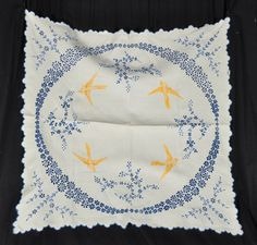 Vintage Broderie Anglaise Embroidered Swallows Birds & Flowers Linen Tablecloth | eBay