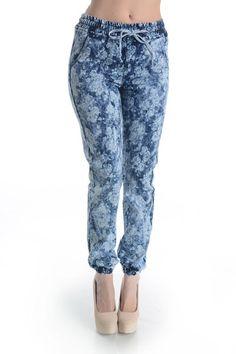 Hott Denim Flower Print Jogger Pants! Plus Size! #UASpringSummerCollection2015 #Jogger