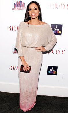 Rosario Dawson chose a beaded blush Reem Acra dress for the 2013 Learn.Build.Create Inaugural Celebration event