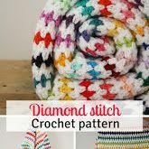 Crochet blanket, free crochet pattern. Diamond stitch blanket crochet pattern: step by step tutorial. Rainbow blanket, free crochet pattern | Happy in Red
