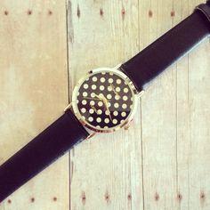 Black and white polka dot watch