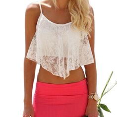 6f194e38aa Summer Style Crop Top Sexy Women Lace Floral Hollow Out U Vintage Crop tops  Sportswear
