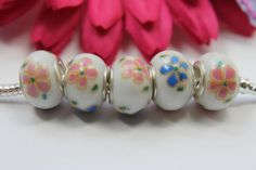 6pcs Floral Murano Beads by TheCraftShedd on Etsy, $5.75
