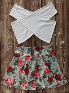 White Cross Crop Top and Floral A Line Skirt Suit (Colormix) Teen Fashion Outfits, Outfits For Teens, Cute Outfits, Trendy Fashion, Style Fashion, High Fashion, Suits For Women, Clothes For Women, Crop Top Outfits