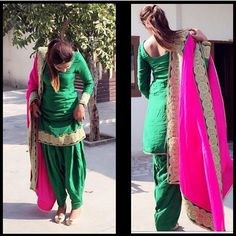 The colour combo Kurta Pajama Punjabi, Punjabi Salwar Suits, Patiala Suit, Salwar Kameez, New Fashion Saree, Punjabi Fashion, Indian Fashion, Women's Fashion, Indian Suits