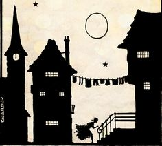 "Vintage Fairy Tale Illustration ""These Old Walls"" Houses Village Silhouette - Black and White Paper Cut Art - European Town Scene.via Etsy."
