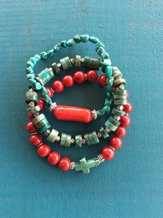 Turquoise Coral Riverstone Stack Stretch Bracelt Set by RouteOneDesignCo on Etsy
