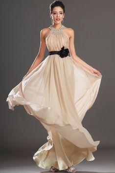 b845f641251b Púdrové šaty s holým chrbtom S00132 dlhé spoločenské šaty bezova - 0