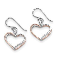 Sterling Silver & Rose Vermeil Double Wire Heart Dangle Earrings
