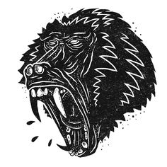 Wheat paste poster illustration of a baboon #baboon #logo #vintage