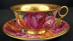 Antique Lamm Dresden Tea Cup  Saucer with Roses