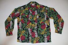 NOS 1940s Del Mar Sportswear Rayon Button Up Pineapple Printed Hawaiian Shirt M