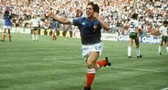 France 4 N. Ireland 1 in 1982 in Madrid. Alain Giresse races away after scoring on 33 minutes in Round 2, Group D at the World Cup Finals.