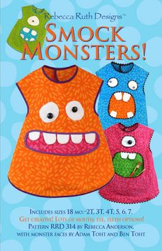 Smock Monsters Pattern by Rebecca Ruth Designs by MyHeartandSew, $9.95