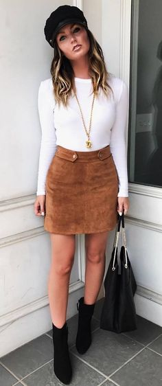 casual style obsession : hat + white top + brown skirt + bag + boots