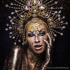 Electric Drag Queen Purple Sequin Cabaret Show Girl Gown + Feather Headdress Costume Set Glitter Highlight, Flower Headdress, Latin Dance Dresses, Dance Leotards, Black Feathers, Showgirls, Black Glitter, Cabaret, Dance Wear