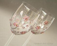 Wedding Glasses, Wine Glasses, Sakura painting, Hand Painted, Set of 2 Hi quality CRISTAL wine glasses, hand painted and decorated. Lovely cherry blossom pattern in soft shades of pink, decorated wit shining Swarovski crystals. One of a kind hand painted glasses, authors design.