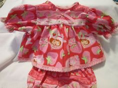"""RED//PINK//CORAL FLOWER DRESS WITH BUTTONS+LACE for 16-18/"""" CPK Cabbage Patch Kids"""
