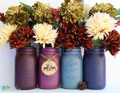 These beautiful painted mason jars are ideal for Christmas and Winter centerpieces. They are painted on the outside only, so are perfect for fresh