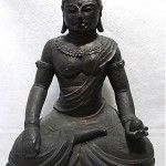 antique 1900s carved wood buddha