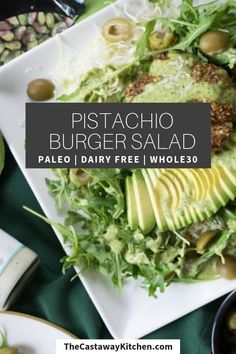 Pistachio Crusted Burger Patty over green salad with avocado, arugula, ranch and herbs! Delicious and versatile meal! Easy Whole 30 Recipes, Paleo Recipes Easy, Lamb Recipes, Gluten Free Recipes, Real Food Recipes, Whole30 Recipes, Salad Recipes, Burger Salad, Whole 30 Diet