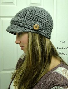 "PATTERN pdf crochet adult newsboy cap ""Puddle Jumper Newsboy Hat"" Adult"