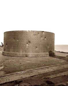 Civil War Ironclad ship The Monitor- note the shell impacts from the famous 1862 battle of the ironclads...