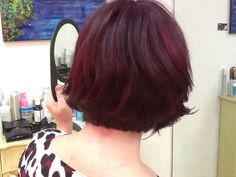 Textured bob and fantastic purple red color